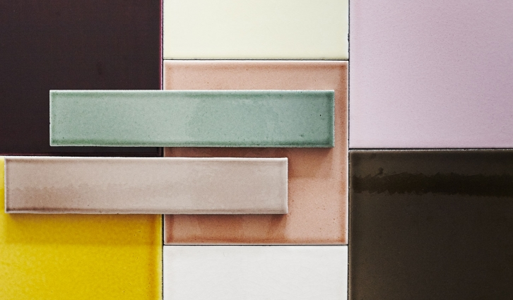 Lava Square tiles shown here in a mix of rose, aubergine, powder, wheat, green coffee and miel