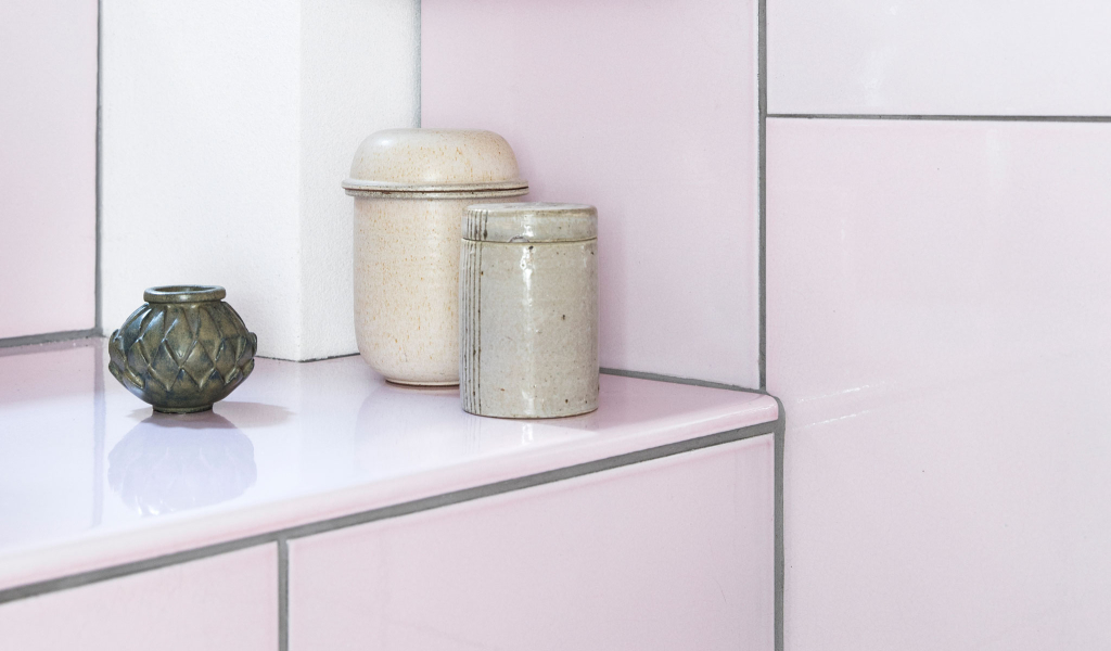 Detail with lavastone tiles, shelves and window sill in Pale Rose