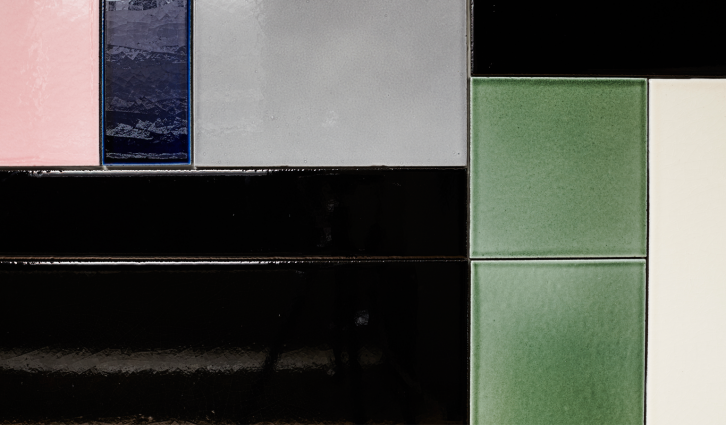 Lava tiles in a Bauhaus inspired pattern that we will never get enough of