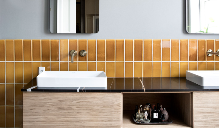 This townhouse in Klampenborg has everything / Miel matched with a marble vanity top.